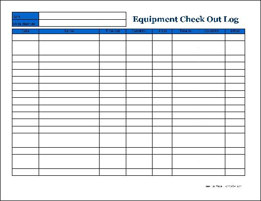 equipment inventory log template - log templates excel