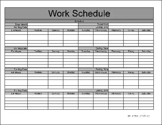 Free Basic Monthly Work Schedule from Formville - work schedule