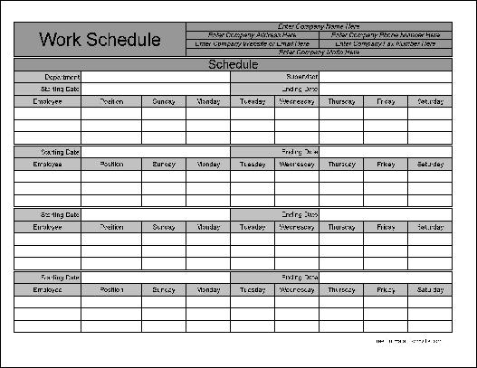 Free Wide Row Monthly Work Schedule from Formville