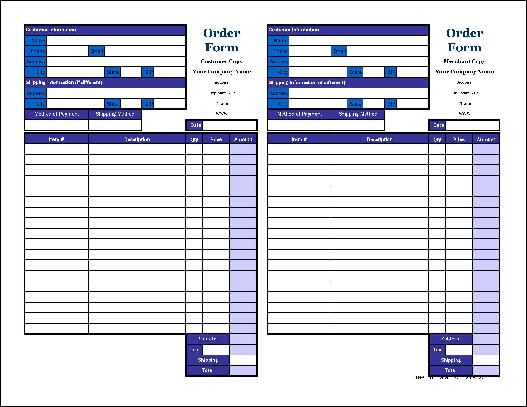 Free Small Basic Order Form with Duplicate (Tall) from Formville