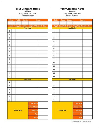 Free Restaurant Order Form from Formville - company order form template