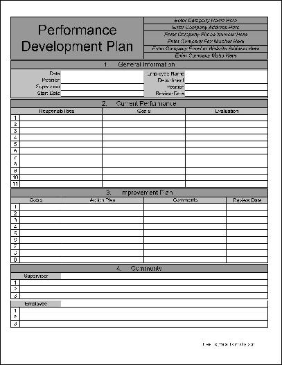Free Personalized Numbered Row Performance Development Plan from - performance plan