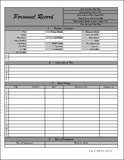 Free Personalized Fancy Numbered Row Personnel Record Form from - employee record form