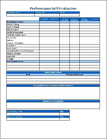 Free Simple Performance Self-Evaluation from Formville - employee self evaluation form