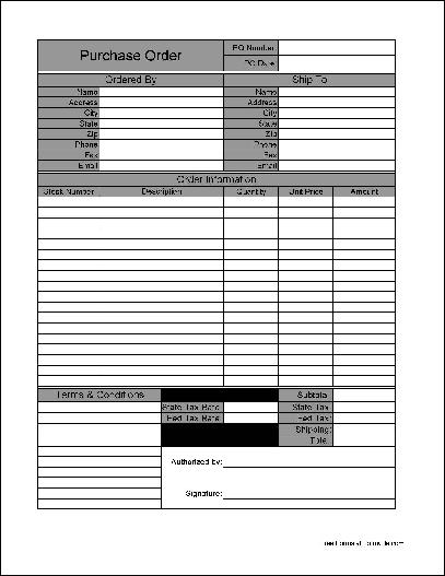 Free Basic Purchase Order from Formville - purchase order form free