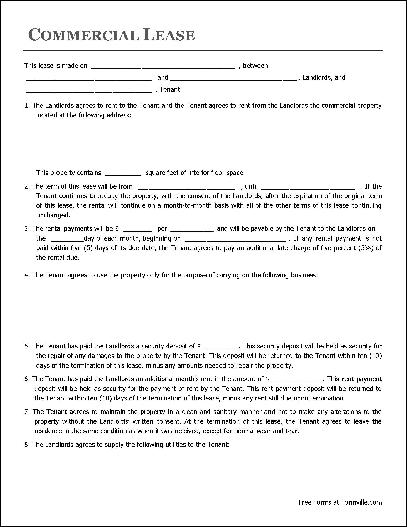 Free Commercial Lease Agreement (Husband and Wife to Organization