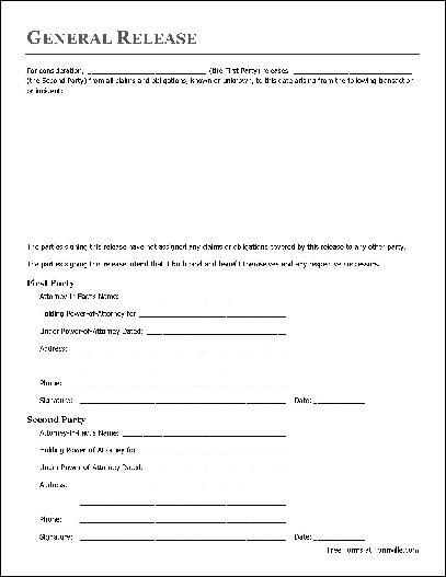 Free Basic Release Form (Attorney-in-Fact to Attorney-in-Fact) from - general release form template