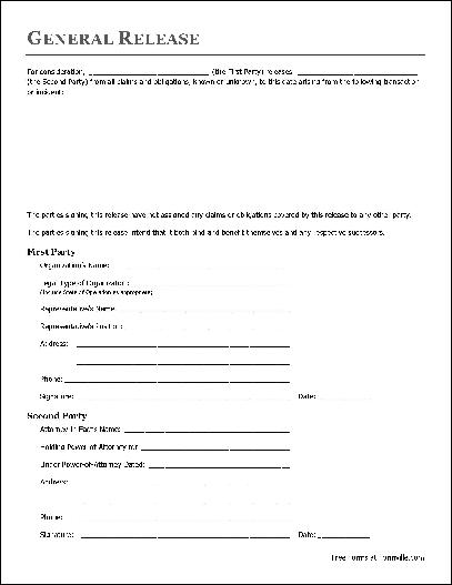 Free Basic Release Form (Organization to Attorney-in-Fact) from - free release of liability form