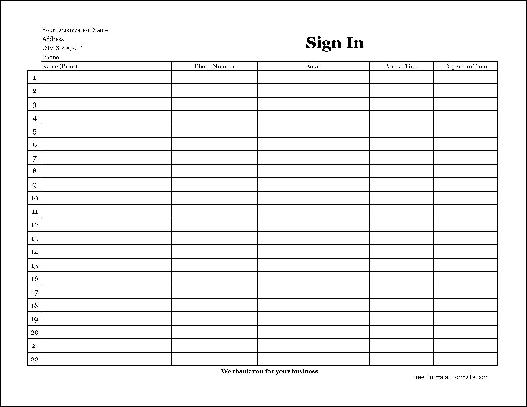 Sign In Sheet In Pdf Template For Employee Sign In Sheet Sign In