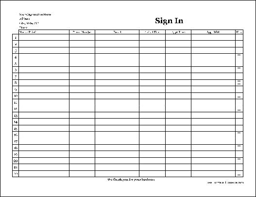 Free Easy-Copy Detailed Company Appointment Sign In Sheet (Wide
