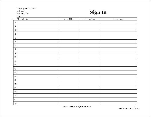 Free Easy-Copy Basic Company Volunteer Sign In Sheet (Wide) from