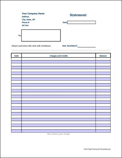 Free Long Statement of Account from Formville - free statement forms