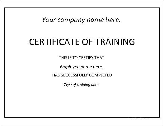Free Basic Training Certificate from Formville - free training certificates