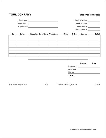 Basic Timesheet Template Free  Free Microsoft Office Resume