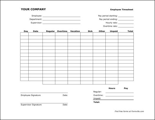Free Bi-weekly Timesheet (Landscape) from Formville - weekly time sheet