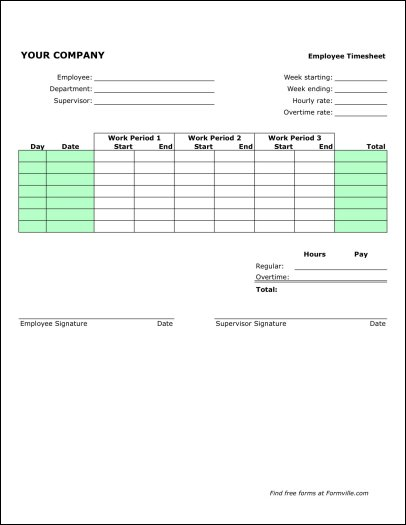 Free Weekly Timesheet (Portrait) from Formville