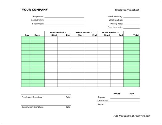 Free Timesheets From Formville Free Bi Weekly Timesheet Portrait From Formville