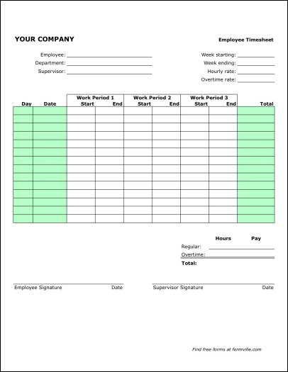 Free Bi-weekly Timesheet (Portrait) from Formville - weekly time sheet