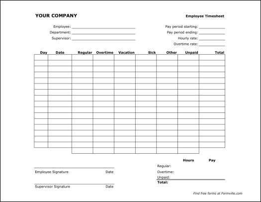 Free Semi-monthly Timesheet (Landscape) from Formville - free timesheet forms