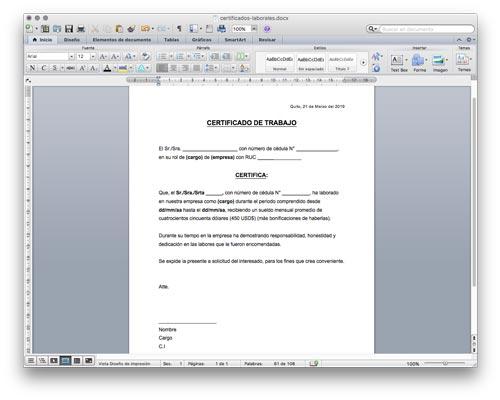 Modelo de Certificado de Trabajo en Word (ejemplo de certificado