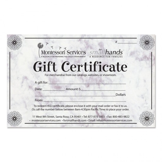 Order Gift Certificates Online - For Small Hands