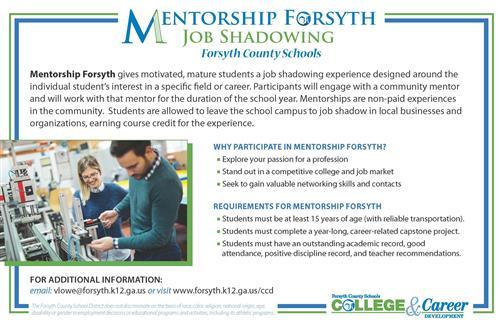 College  Career Development / Mentorship Forsyth/Job Shadowing