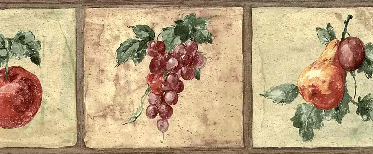 Black And Cream Damask Wallpaper Fruit Vintage Wallpaper Border Kitchen Apples Cl91357b
