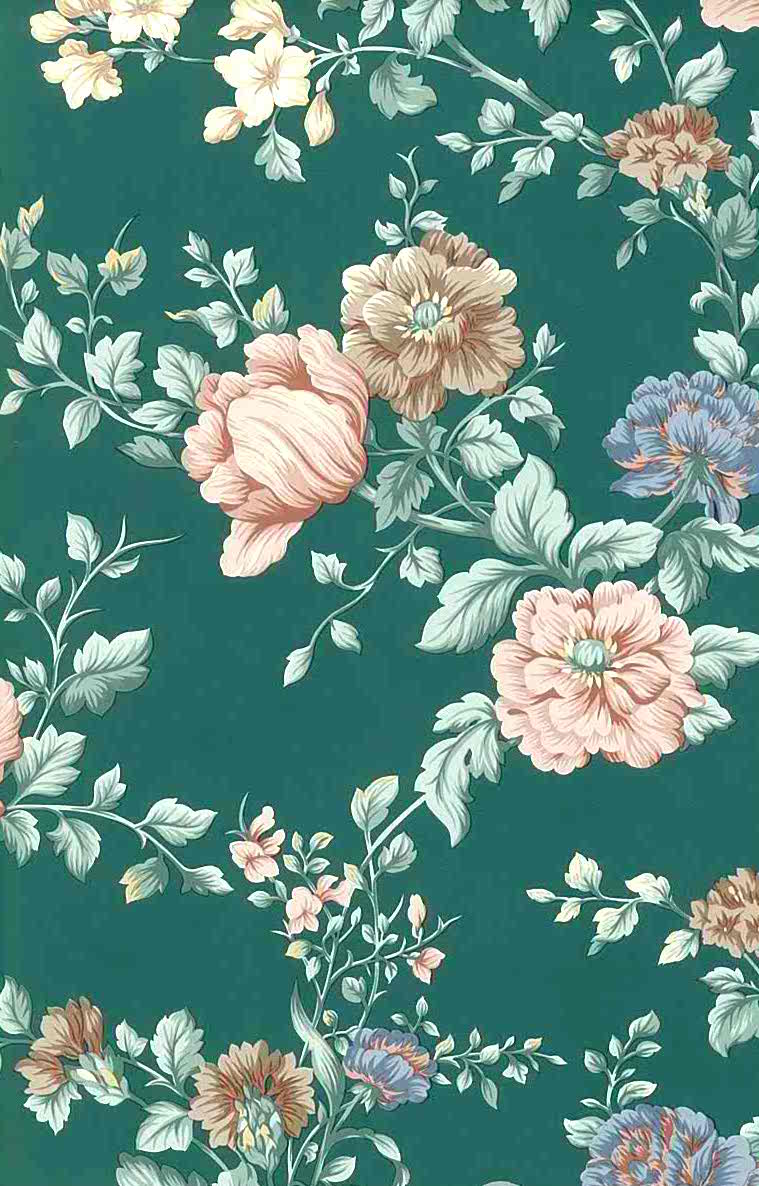 Cute Japanese Food Wallpaper English Cottage Floral Vintage Wallpaper Peach Green Pink