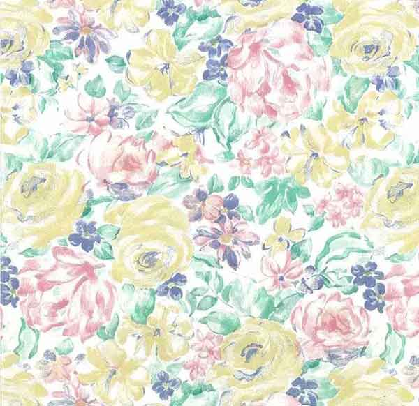 Vintage Shand Kydd Floral Wallpaper Pink Yellow Green 20910 D/Rs