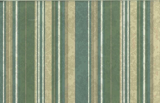Vintage Green Striped Wallpaper Taupe Pearl Damask WFM5041 D/Rs