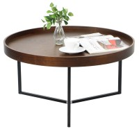 Barrie Walnut Round Tray Table - Coffee Tables - Living ...
