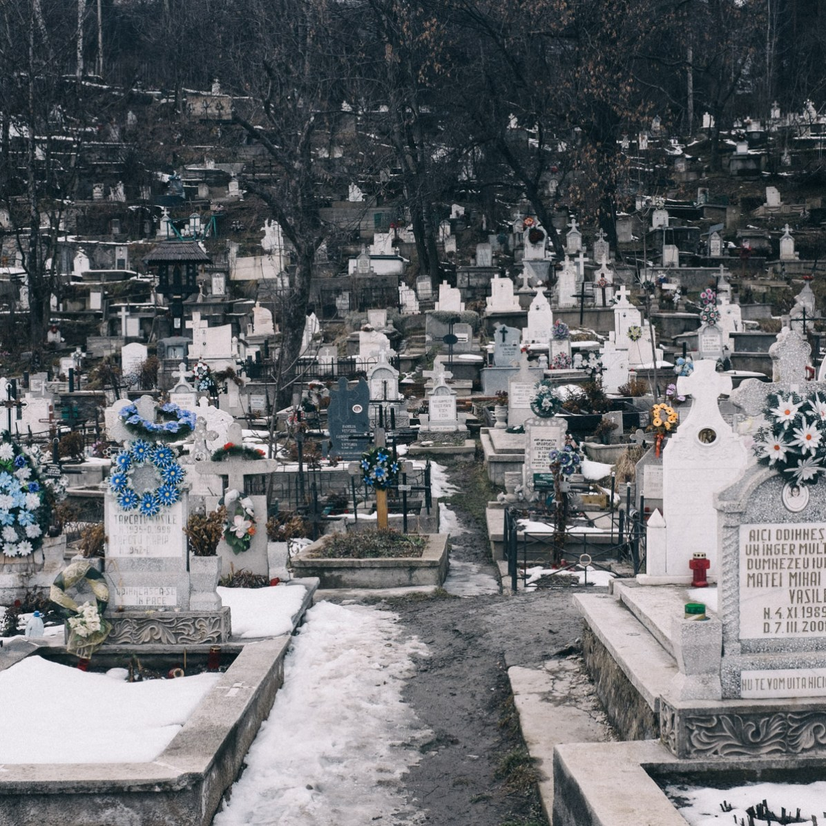 The disorderly graveyard of Petrila, Romania.