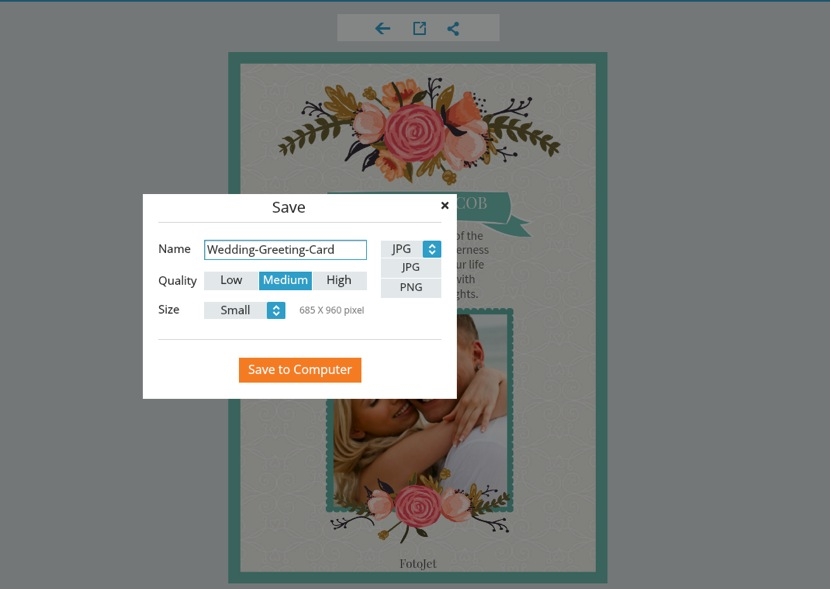 Make Printable Wedding Greeting Cards Online to Congratulate Your