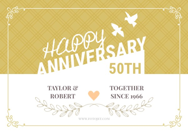 Happy 50th Wedding Anniversary Greeting Card Template FotoJet