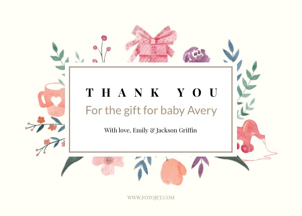 Baby Thank You Cards - Make Custom Baby Thank You Cards Online FotoJet