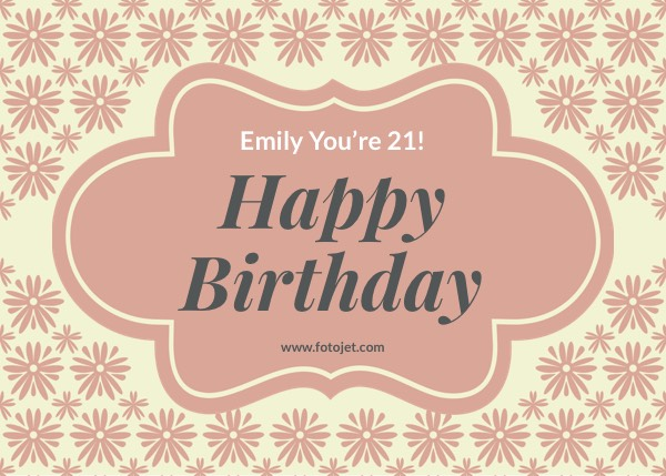 Happy 21St Birthday Greeting Card Template Template FotoJet - template for a birthday card
