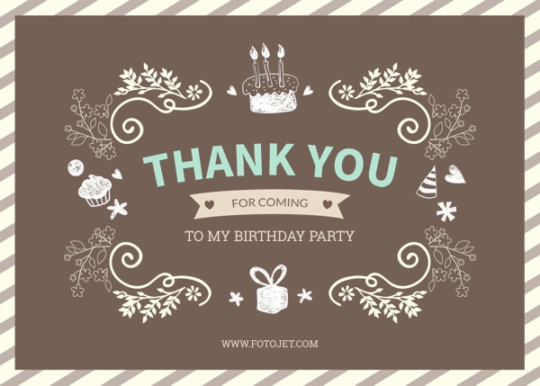 Personalised Birthday Thank You Card Template Template FotoJet
