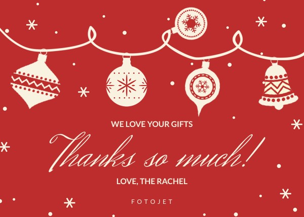 Personalized Christmas Thank You Card Template Template FotoJet