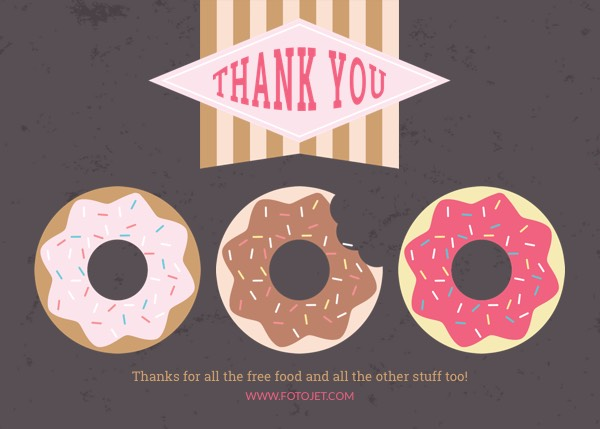 Printable Doughnut Thank You Card Template Template FotoJet