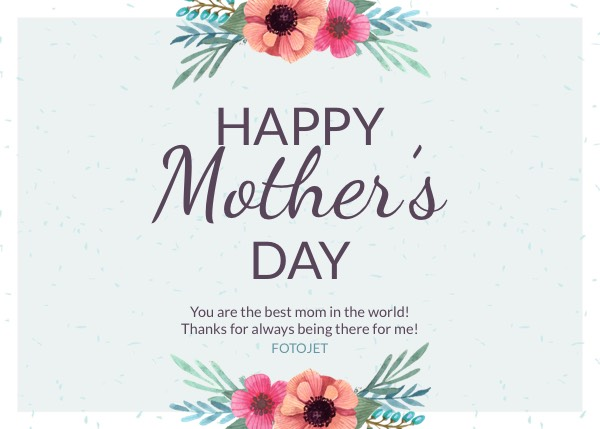 Happy Mother\u0027s Day Greeting Card Template Template FotoJet