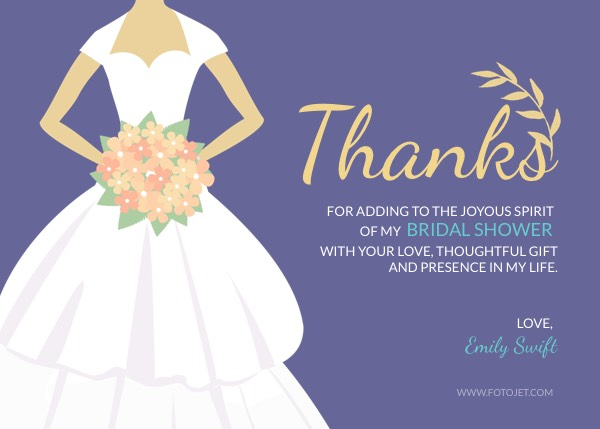 Purple Bridal Shower Thank You Card Template Template FotoJet