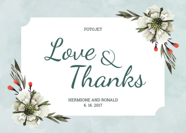 Floral Wedding Thank You Card Template Template FotoJet