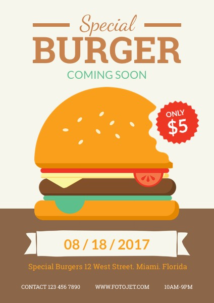New Special Burger Promotional Flyer Template Template FotoJet