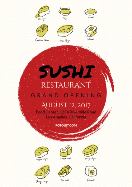 Sushi Restaurant Grand Opening Flyer Template Template FotoJet - grand opening flyer