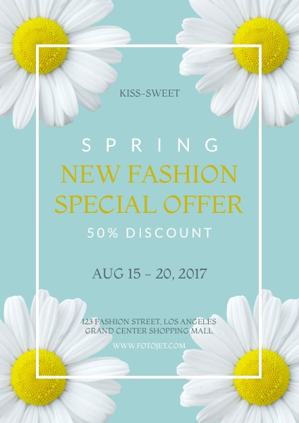 Floral Spring New Fashion Sales Flyer Template Template FotoJet - spring flyer template