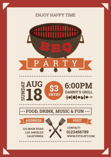 Happy BBQ Party Flyer Template Template FotoJet