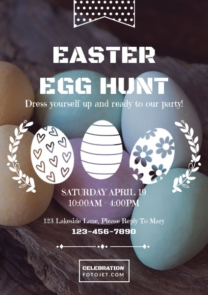 Easter Egg Hunt Party Flyer Template Template FotoJet