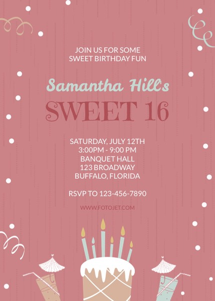 Sweet 16 Birthday Invitation Template FotoJet