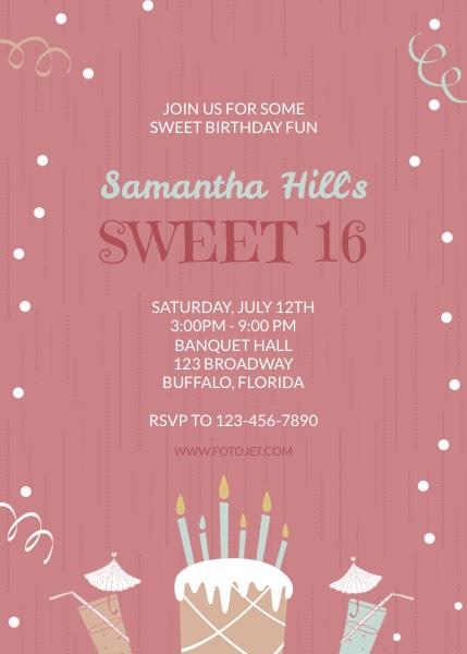 Sweet 16 Birthday Invitation Template FotoJet - invitation templates birthday