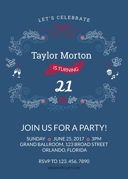 21st Birthday Party Invitations Template FotoJet